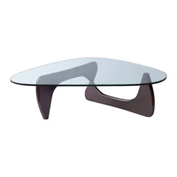 "Lemoderno - Fine Mod Imports  Tribeca Coffee Table, Black, Dark Walnut, 16""h X 50""w X 36""d - This table consists of three basic parts a beautiful glass top and two interlocking wood base pieces. This classic design was first produced in 1944 15mm thick tempered glass Solid wood base   Assembly Required"