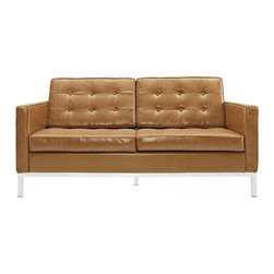Modway Imports - Modway EEI-185-TAN Loft Leather Loveseat In Tan - Modway EEI-185-TAN Loft Leather Loveseat In Tan