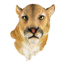 Zeckos - Mountain Lion Head Mount Wall Statue Bust - This awesome, cold cast resin replica mountain lion wall mount is a perfect addition to any nature themed room. The head measures 16 inches tall, 11 inches wide and 8 inches deep. The detail is incredible, down to the hand-painted eyes. This mountain lion`s head is brand new, and makes a great gift for any cat lover.