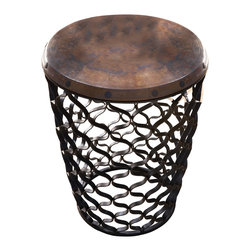 Global Views - Small Arabesque Table w/ Antique Copper Top - Black powder coated iron with antique copper sheet top