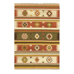 "Torabi Rugs - Flat-weave Anatolian Kilim Dark Red Wool Kilim 4'7"" x 6'7"" - Anatolian rugs and flatweaves are handmade by semi-nomadic tribes who live along the Turkish Mediterranean coast. Wool and locally produced natural dyes are used in their weaving. Predominant colours used are bright red,Indigo blue, beige, camel bnown and to a lesser degree white. The designs used have representation of flowers, ears of grain and stylized animal and human figures."