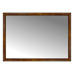 """Posters 2 Prints, LLC - 53"""" x 38"""" Belmont Light Brown Custom Framed Mirror - 53"""" x 38"""" Custom Framed Mirror made by Posters 2 Prints. Standard glass with unrivaled selection of crafted mirror frames.  Protected with category II safety backing to keep glass fragments together should the mirror be accidentally broken.  Safe arrival guaranteed.  Made in the United States of America"""
