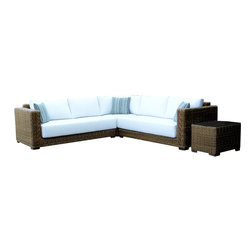 Wicker Paradise - Patio Wicker Sectional - South Beach Collection - Now you and your family and guests can lounge in ultimate luxury poolside or on the patio on this handsome wicker sectional set; five people can loll here comfortably. Crafted from materials meant to withstand the weather, the plush cushions are a pretty baby blue.