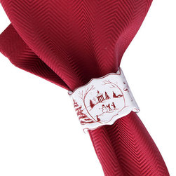 Country Estate Winter Frolic Napkin Rings - Set of 4 - Effortlessly take your signature table setting through the holidays and the icy months that follow with the Country Estate Winter Frolic Napkin Rings, a set of four scalloped ceramic details painted with individual scenes from a snow-blanketed manor park. The simple red and white color scheme easily pairs with a favorite set of napkins for a graceful pop of warm color.