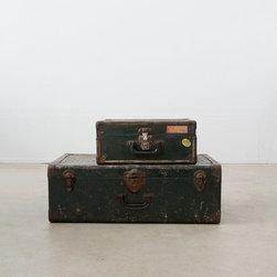 Vintage Metal Green Luggage - SM - vintage metal luggage
