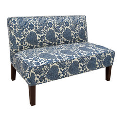 None - Made to Order Armless Settee - Upholstered Settee with blue and cream floral upholstery