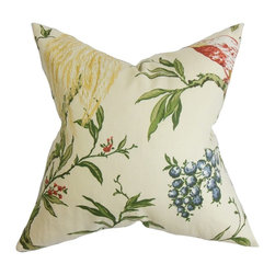 """The Pillow Collection - Giulia Floral Pillow White Green 20"""" x 20"""" - A colorful mix of patterns makes this throw pillow a must-have for your styling needs. Detailed with a multicolored floral pattern and a beautiful bird print in a bright yellow hue. This accent pillow makes a great statement piece to any of your room. This 20"""" pillow blends easily with solids and other patterns. Made of soft and durable materials: 55% cotton and 45% linen. Hidden zipper closure for easy cover removal.  Knife edge finish on all four sides.  Reversible pillow with the same fabric on the back side.  Spot cleaning suggested."""