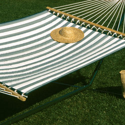 None - Quilted Hammock - Watch sunrises or sunsets in peace while reclining in your favorite hammockRelax and enjoy your garden,patio or porch even more in this welcoming green and white hammockHammock is a perfect addition to your outdoor furniture