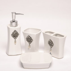 None - Jewel White Boutique Faux-jewel Ceramic Bath Accessory 4-piece Set - Finish off the look of your bathroom with this four-piece white bath accessory set from Famous Home Fashions. This set includes a soap dish, lotion dispenser, and more, and its ceramic construction features faux jewels for a classy accent.