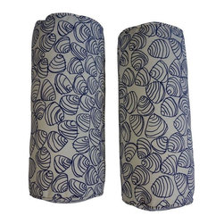 Scallop Shell Patterned Bolsters in Navy - Pair - Special white glove delivery rates of $99 or less apply in the San Francisco Bay Area! Shipping charges will be calculated at checkout. We just love a good bolster. This pair is a stand out. Super fun navy shell motif embroidered on a heavy weight cotton.  The blue and white color palette is a classic.