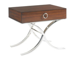 Lexington - Lexington Mirage Hayworth Lamp Table - Sweeping lines and a modern blend of elements makes the Hayworth Lamp Table an end table to be desired. The graceful x-base in polished stainless steel silver supports a single Quartered Walnut wood drawer that appears as if it is floating in the room. A single pull ring adds a final touch of elegance with its silver sheen and detailing comparable to find jewelry.