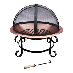 "Landmann - Short Scroll Fire Pit with 30"" Copper Bowl - -30"" Diameter Solid Copper bowl for longer life"
