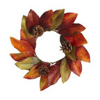 Faux Magnolia Leaves Mini Wreath - These mini magnolia leaf wreaths would be perfect hanging from ribbons on the backs of my dining room chairs.
