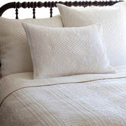 Taylor Linens - Abigail Cream Twin Quilt - The embroidery on this quilt is so lovingly detailed, you'll swear it's a handmade heirloom. Voluptuous florals and beguiling borders are rendered in cotton percale, for a look that's vintage inspired but conveniently machine washable, for years of snuggable comfort.
