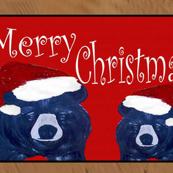 USA - Merry Christmas Bears Rug, 36x60, Free Persnalizing - Durable 20 0z. tight loop carpet with non skid rubber backing and a black edge binding. My art images are permanently applied by dye sublimation and wash with mild soap and water. Rugs are approx. 3/8 inch thick.