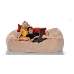 """jaxx - Bean Bag Sofa - Features: -100% Shredded furniture grade urethane foam / nylon liner / polyester microsuede / premium microfiber exterior cover.-Designer bean bag lounger.-Comfortable seating options for kid's rooms, family rooms, home theaters and dorms.-Liners are nylon rip stock with a child safety zipper.-Covers zip off for machine washing.-More plush and far more portable than a loveseat or recliner.-Moves with every twist and turn providing support to any lounging or seating position.-It takes you peacefully into the night.-Seats one comfortably.-Chic removable cover in designer textile for modern living spaces and loft dwellers.-Earth friendly.-Made in the USA.-Collection: Jaxx Bean Bags.-Distressed: No.-Country of Manufacture: United States.-Material: Microsuede.-Fill Included: Yes -Fill Material: Urethane foam..-Removable Cover: Yes.-Product Care: Removable cover: machine wash cold, tumble dry..Dimensions: -Overall Product Weight: 87 lbs.-Overall Height - Top to Bottom: 36"""".-Overall Width - Side to Side: 86"""".-Overall Depth - Front to Back: 47"""".Warranty: -Product Warranty: 1 year manufacturer parts warranty."""