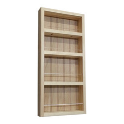 None - Natural Pine 24-inch Wall-mount Spice Rack II - This 24-inch spice rack can be easily mounted on the wall or side of a cabinet. The natural pine spice rack features a beadboard back panel and virtually unbreakable clear acrylic dowels in front of each shelf.