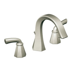 "Moen - Moen TS448BN Felicity Two Handle Widespread High Arc Bathroom Sink Faucet Trim i - Moen TS448BN Felicity Two Handle Widespread High Arc Bathroom Sink Faucet Trim in Brushed NickelThe Felicity collection makes a bold statement with sweeping horizontal lines and geometric forms. Felicity suggests a bold, modern feel that will enhance a refined decorating style.Note: Valve Not IncludedMoen TS448BN Felicity Two Handle Widespread High Arc Bathroom Sink Faucet Trim in Brushed Nickel, Features:• Two-handle lever design• High Arc design• 8"" - 16"" widespread installation• Laminar stream allows for clear and quiet water flow• Includes metal pop-up waste assembly• Hydrolock quick connect installation• Meets WaterSense criteria to conserve water without sacrificing performance• 1.5 GPM (5.7 l/min) max• 1/2"" IPS connections will accept standard ball nose connection for 3/8"" tubing• ADA Compliant• Valve Required (sold separately)Requires: Moen-9000 Moen 9000 M-PACT Widespread Bathroom Sink Rough-In Valve, 1/2"" IPS ConnectionSpecification Sheet - Moen TS448BNMoen Installation Instructions  Moen Limited Lifetime WarrantyView the Entire Moen Felicity CollectionView All"