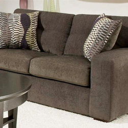 Chelsea Home - Rockland Upholstered Loveseat - Includes toss pillows. Contemporary style. Loveseat with hematite gray cover. Pillows with zipper opal cover. Attached back cushions. 100 % poly upholstery. Medium seating comfort. Double springs on the ends nearest the arms for balanced seating. Sinuous springing system for uniform seating. Reinforced 16-gauge border wired system. Long lasting and solid kiln dried hardwood frame. Made in USA. No assembly required. 69 in. L x 39 in. W x 37 in. H (100 lbs.)