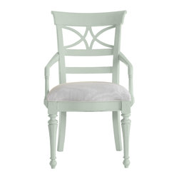 Stanley Furniture - Coastal Living Cottage Sea Watch Arm Chair - Morning Sky Finish - Combine a filigree back and chamfered legs and you've got reason to sit a little longer. Gently bowed arms are comfortable, yet narrow enough to cup in your palm. Features a cushioned seat in your choice of five fabrics. Made to order in America.