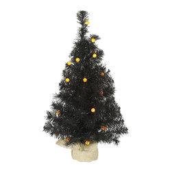 """Vickerman - Black Pine Tree G12 25LED Orange (24"""") - 24"""" Black  Tree  70 PVC Tips, 25 Orange G12 LED Lights,  Burlap Base"""