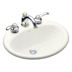 "Kohler - Kohler K-2906-4-0 White Ellington Ellington 19-1/4"" Cast Iron Drop In - Product Features:Oval basin couples functionality with aesthetic appealCovered under Kohler s limited lifetime sink warrantyConstructed of enameled cast-iron which combines strength, durability and insulation benefitsBrings resilient beauty to your bathroomElegant rippled effect delivered by oval basin accented with concentric ringsDrop in installation delivers a clean appearance to your existing bathroom designCenter drain location provides optimal draining capabilityAll hardware needed for installation includedProduct Technologies / Benefits:Drop In Sinks: A rim or lip sits on the counter while the basin rests below. Ideal for remodeling, these sinks can be easily retrofitted to an existing counter.Enameled Cast-Iron: Kohler Enameled Cast-Iron combines the strength, durability, and insulation benefits of cast-iron with the scratch, chip, and burn resistance of a baked, powder coat finish and comes with an exceptional Lifetime Limited Warranty. These materials combined give the sink or tub the strength to last a lifetime of use. Another benefit is that Kohler Enameled Cast-Iron is available in a wide variety of specialty colors to truly customize your home.Product Specifications:Height: 8-7/16"" (measured from the bottom of sink to the top of the rim)Overall Width: 16-1/4"" (measured from the back outer rim to the front outer rim)Overall Length: 19-1/4"" (measured from the left outer rim to the right outer rim)Basin Width: 11"" (measured from the back inner rim to the front inner rim)Basin Length: 16"" (measured from the left inner rim to the right inner rim)Basin Depth: 4-7/8"" (measured from the center of basin to the rim)"