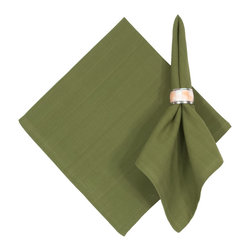 "Traders and Company - Hand Woven 100% Cotton Solid Fern Green 22""x22"" Napkins, Set of 6 - Fern - Imported hand-loomed 100% cotton napkins add a mark of color and elegance to your dining table. Napkin ring not included. Machine washable with similar colors in cold water, and cool dry. Made in India."