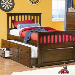 Mate's Storage Bed with 3 Drawer Trundle Bed - This transitional styled Mate's Storage Bed with 3 Drawer Trundle Bed in Antique Walnut is available in full or twin sizes and is ideal for teens of both genders. With its mission design head and footboards, antique walnut finish and a three drawer trundle, this bed is time-tested style and function all in one.