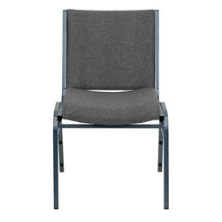 "Flash Furniture - Hercules Series Heavy Duty, 3"" Thickly Padded, Grey Upholstered Stack Chair"" - This functional stack chair can be used in a multitude of environments from small to large. The versatility of the chair makes it appropriate to use in the Church, Offices, and Training Rooms or in the Classroom or Home. The thick padded seat and back will keep users comfortable throughout the duration of the day. Not only is this chair comfortable, but it is very durable with its heavy duty frame with bumper guards that will prevent the finish on the frame from being scratched when stacked. So when in need of temporary or permanent seating this multi-purpose stack chair is sure to meet the needs for any venue."