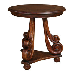 TerraSur - 30-inch Jolie Round Occasional Table - Get your room decor rolling with this scrolling accent table. Three lusciously scrolled legs support a pretty round tabletop featuring a hand-carved design. Highlight the beautiful, flowing lines of this dark wood table with a verdant-potted fern or pristine, white calla lilies.