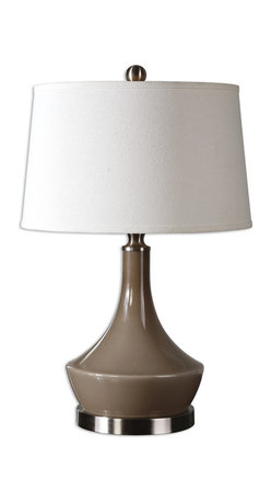 Uttermost - Kerman Warm Gray Lamp - Pour it on! This decanter shaped gray ceramic lamp is ready to illuminate your favorite spaces. The wide brushed aluminum base and linen shade give this table lamp a modern vibe and the warm gray color makes it a good choice for traditional bedside or chair side lighting.