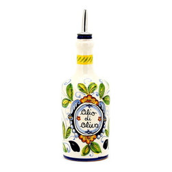 Artistica - Hand Made in Italy - Toscana: Round Bottle with Spout 'Olio Di Oliva' - Toscana: