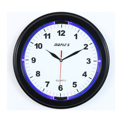 Maple's Clock - Blue and Purple 13 Inch LED Plastic Wall Clock - - LED light for night time  - LED powered by batteries or AC  - Sweep mode second hand  - AC adaptor is optional  - Very strong & well finished black casing  - Battery - 1AA and 3AA (Not Included) Maple's Clock - JS2328B