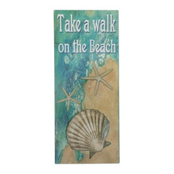Handcrafted Nautical Decor - Wooden Take A Walk On The Beach Shell Sign 19'' - Our   Wooden Take A Walk On The Beach Shell Sign 19'' is the perfect choice to display   your affinity for decorating a beach house. Whether placing this sign in a beach house, using it as a coastal decorating idea, or hanging it up as part of   your beach bedroom decor, one thing is for   certain: you are sure to inject the beach lifestyle into your humble   abode.------    Easily mountable to hang outside or inside--    Solid wood--    Handcrafted and highly detailed--