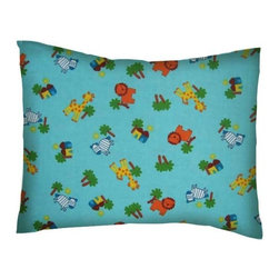 SheetWorld - SheetWorld Twin Pillow Case - Flannel Pillow Case - Safari Animals Aqua - Twin pillow shams. Made of an all cotton flannel fabric. Side opening. Features the cutest safari animals aqua.