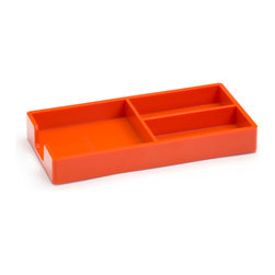Poppin - Bits and Bobs Tray, Orange - When it comes to clutter, little things mean a lot. Get them squared away in high style with this three-compartment organizing tray for your desk, vanity or drawer. It measures 9 by 6 3/4 by 3 1/4 inches, is finished in your choice of eye-popping colors in a lacquer-like finish and coordinates with other accessories in the same line.