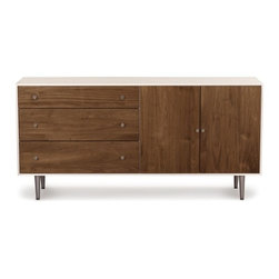 Copeland Furniture - Copeland Furniture | MiMo 3 Drawer 2 Door Dresser - Made in Vermont by Copeland Furniture. The MiMo Bedroom Collection by Copeland Furniture is defined by the combination of minimalist design and elegant materials. The MiMo 3 Drawer 2 Door Dresser features metallic and walnut accents that are merged with a stark, white finished dresser body. The mix of storage areas, materials and finishes results in a modern bedroom dresser that is versatile, refined and timeless. The MiMo 3 Drawer 2 Door Dresser is crafted with solid maple hardwood with a white finish, American black walnut hardwood with a natural finish, and metallic legs and knobs. Available in your choice of metal leg and knob finish. Product Features:  Crafted from solid maple and American black walnut Finished with a silky, smooth to the touch top coat Crafted from sustainably harvested hardwoods from the American Northern Forest All lumber comes from within 500 miles of Copeland Furniture's factory in Vermont