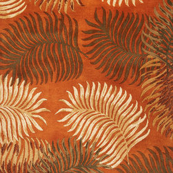 """Kas - Tropical Fern View Rust Havana Floral 2'3"""" x 8' Runner Kas Rug  by RugLots - Lush, Tropical designs bring you into another world with our Havana Collection. 100% multi textured wool is handtufted with hard-twist accents, bringing exceptional texture and dimension to each piece. Rich, nature-inspired colors will bring tropical warmth into your home."""