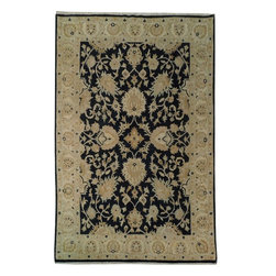 Harooni - Jaipur Area Rug Antique Design Handmade Area Rug 6' X 9' Ft Quality Carpet - Incredibly durable and stylish, elegant 6 ft. x 9 ft. Traditional Rug collection Rug is reflective of a more active lifestyle and invites the expansion of classics into your indoor living space. Fashion a look for your space that will be both flawless and stunningly sophisticated with this truly radiant 6 ft. x 9 ft. Wool Traditional Rug. Perfect for high-traffic areas, this Wool Traditional Rug require little maintenance and has a durable construction to assure longevity. This is 100% Hand Knotted Black 6 ft. x 9 ft. Traditional Rug. It is not machine made, nor hand-tufted, it is authentic hand knotted 6 ft. x 9 ft. Rug, imported from India. Please refer to the last picture (the back of the Rug), which shows the authenticity of the weave. This Wool Traditional reflects the current trend for handmade Rug with a soft hand feel. Exact size of this Traditional Rug is 6' 0'' x 8' 10'' and it is in Pre-Owned-Perfect condition. It features a predominant Black field color and Beige border, with the following accent colors: black, beige, gold, blue. This Rug was hand knotted by skillful weavers from India. You'll marvel at the details and artistry displayed in this art work and you'll love the soft feel of it under your feet.