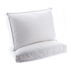 Alluna - 300-Thread Count Euro Down Pillow - Set of Two - Get a good night's rest with these plump pillows that feature fluffy micro-feathers and down. An inner construction with baffles keeps the fill in place for better neck and head support.   Includes two pillows Self: 100% cotton Fill: micro-feathers / feathers / down 300-thread count Machine wash Imported