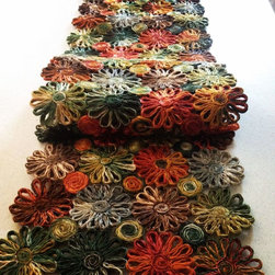 """Deborah Rhodes Patchwork Daisy Runner - These Deborah Rhodes handmade, patchwork """"Daisy"""" runners will add a rich pop of color to your table.  After all, the table is the heart to every home!"""