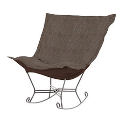 Howard Elliott - Coco Slate Scroll Puff Rocker - Titanium Frame - Totally stylized! The Puff Chair with the velvety texture and rich colors of Micro suede make this the perfect chair for any home. Accented with horizontal tonal bands and topstitched seams gives the Micro suede Puff Chair the look of true suede. This Coco Slate piece is 66% polyester 34% acrylic finished in slate gray. 40 in. W x 37 in. D x 40 in. H