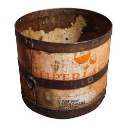 Used Vintage Orange Iron Bucket - All others pale in comparison when it comes to this vintage orange bucket with iron detail. This perfect accent piece boasts original patina.