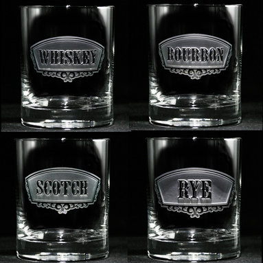 Crystal Imagery, Inc. - Whiskey, Bourbon, Rye, Scotch Glass Set of 4 - These beautifully hand-crafted whiskey, rye, scotch and bourbon glasses will be the envy of all your party guests. Their beautifully engraved, classic banner labels say everything about your cultivated taste in spirits, liquors and all other things.