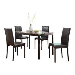 Homelegance - Homelegance Tempe 5-Piece Faux Marble Top Dining Room Set with Black Metal Base - With a scale appropriate for any number of smaller dining spaces, the Tempe collection will provide the look and style you want in your home. The transitional feel of the group comes from the richly hued faux marble table top and the minimalistic design of the dark brown bi-cast vinyl chairs. The table and chair are constructed of metal in black finish.