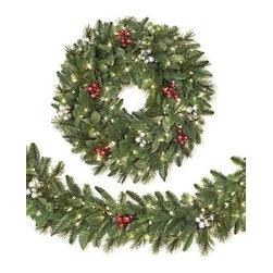 Escada Evergreen Christmas Wreath & Garland - ADD ELEGANCE TO YOUR DECOR WITH OUR ESCADA EVERGREEN CHRISTMAS WREATH AND GARLAND