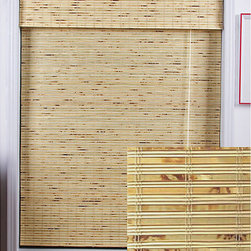 Petite Rustique Bamboo Roman Shade - Bamboo shades work with so many different interiors, anything from traditional to coastal, and they look great layered under linen drapes.