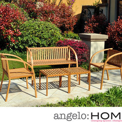 ANGELOHOME - angelo:HOME Vineyard Bamboo Garden 5 Piece Indoor/Outdoor Furniture Set - This sturdy bamboo garden furniture set features four stylish, modern pieces all crafted by renowned designer Angelo Surmelis. Great for both indoors and outdoors, these pieces are durable, fashionable and constructed in an eco-friendly manner.