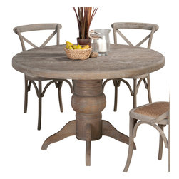 Jofran - Jofran Burnt Grey Round Pedestal Dining Table in Solid Oak - Belongs to Burnt grey collection by Jofran. Solid oak.