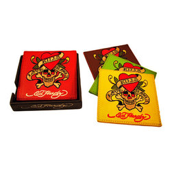 Zeckos - Set of 4 Ed Hardy Love Kills Slowly Leather Coasters - Keep your bar, coffee table or end table free of condensation rings with this officially licensed set of 4 embroidered leather Ed Hardy 'Love Kills Slowly' coasters. The coaster come in 4 different colors, each with the iconic 'Love Kills Slowly' skull design embroidered in the center. They measure 4 1/4 inches by 4 1/4 inches. They make a great gift for any Ed Hardy fan.